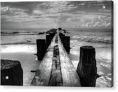 Folly Beach Pilings Charleston South Carolina In Black And White  Acrylic Print