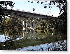 Folsom Bridge-watercolor Acrylic Print by Melanie Rainey