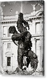 Fontain In Rome - Black And White Acrylic Print by Stefano Senise