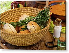 Food - Bread - Rolls And Rosemary Acrylic Print by Mike Savad