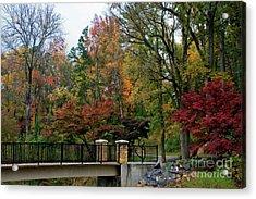 Foot Bridge In The Fall Acrylic Print
