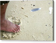 Foot  On  Beach -  Image  2 -  Cropped  Version Acrylic Print