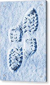 Foot Prints In Snow Blue Tone Acrylic Print