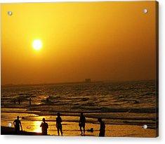 Football And Sunset At The Beach Acrylic Print by Sunaina Serna Ahluwalia