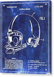 Football Helmet Patent Blueprint Drawing Acrylic Print by Tony Rubino