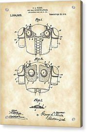 Football Shoulder Pads Patent 1913 - Vintage Acrylic Print by Stephen Younts