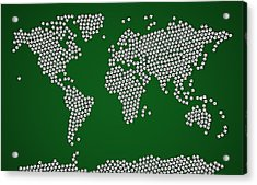 Football Soccer Balls World Map Acrylic Print by Michael Tompsett