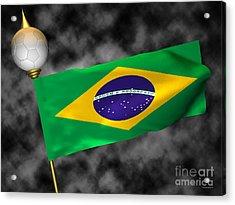 Football World Cup Cheer Series - Brazil Acrylic Print by Ganesh Barad