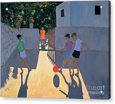 Footballers Acrylic Print by Andrew Macara