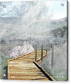 Footbridge In The Clouds Acrylic Print