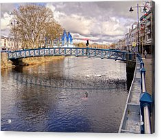 Footbridge Over The Garavogue River In Sligo With Reflections And Swans Sheltering Beneath It Acrylic Print