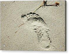 Footprint In The Sand  - South Beach Miami Acrylic Print