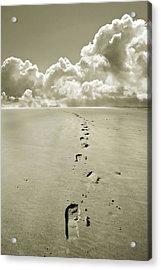Footprints In Sand Acrylic Print by Mal Bray