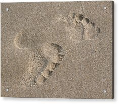 Footprints In The Sand 2 Acrylic Print by Susan  Lipschutz