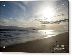 Acrylic Print featuring the photograph Footprints In The Sand by Linda Lees