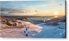 Acrylic Print featuring the photograph Footprints In The Snow by Robin-Lee Vieira