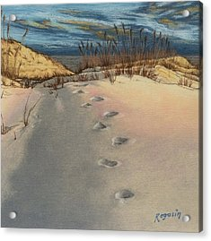 Footprints In The Snowy Dunes Acrylic Print