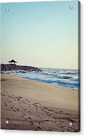 Footsteps In The Sand Acrylic Print by Rebecca Robinson