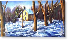 Footsteps In The Snow Acrylic Print by Diane Daigle