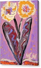 For Kensington Double Yellow Acrylic Print by Mary Carol Williams