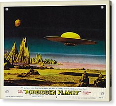 Forbidden Planet In Cinemascope Retro Classic Movie Poster Detailing Flying Saucer Acrylic Print