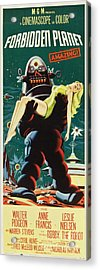 Forbidden Planet In Cinemascope Retro Classic Movie Poster Portraite Acrylic Print by R Muirhead Art