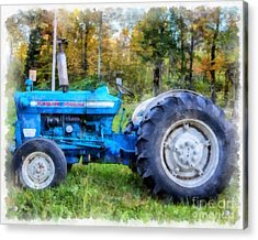 Acrylic Print featuring the painting Ford 4000 Vintage Tractor by Edward Fielding