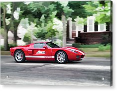 Acrylic Print featuring the photograph Ford Gt Entering Lake Mills by Joel Witmeyer