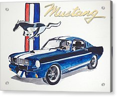 Acrylic Print featuring the painting Ford Mustang by Eva Ason