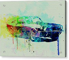 Ford Mustang Watercolor 2 Acrylic Print by Naxart Studio