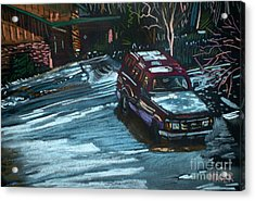 Ford Range In The Snow Acrylic Print by Donald Maier