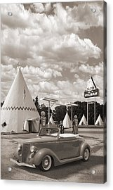 Ford Roadster At An Indian Gas Station Sepia Acrylic Print