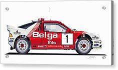 Ford Rs 200 Belga Team Illustration Acrylic Print by Alain Jamar