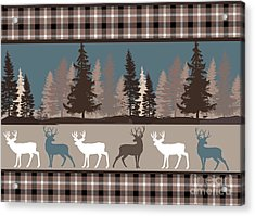 Forest Deer Lodge Plaid II Acrylic Print by Mindy Sommers