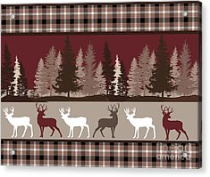 Forest Deer Lodge Plaid Acrylic Print