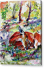 Forest Doe And Fawn Whimsical Watercolor Acrylic Print