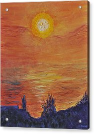 Forest Fire At Night  Acrylic Print by Cathy Renoe