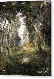 Forest Glade Acrylic Print by Thomas Moran