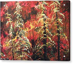 Acrylic Print featuring the painting Forest In The Red by Dan Whittemore