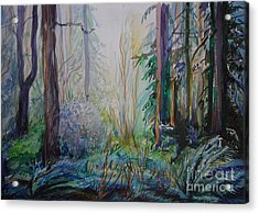 Acrylic Print featuring the painting Forest In The Spring by Anna  Duyunova