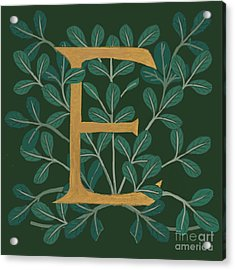 Forest Leaves Letter E Acrylic Print