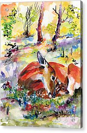 Forest Life Doe And Fawn Watercolor Acrylic Print
