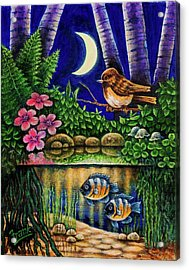 Forest Never Sleeps Chapter Of Quarter Moon Acrylic Print by Michael Frank