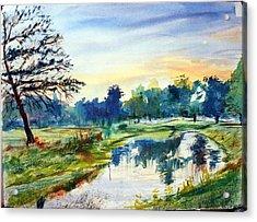 Forest Park At Dawn Acrylic Print by Horacio Prada