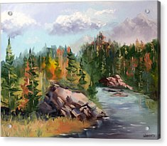 Forest River Landscape Oil Painting By Artist Mark Webster. Acrylic Print