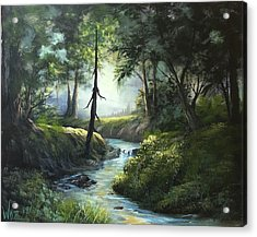 Forest River  Acrylic Print by Paintings by Justin Wozniak