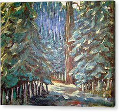 Acrylic Print featuring the painting Forest Visit by Steven Holder