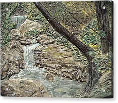 Forest Waterfall Acrylic Print by Doris Lindsey