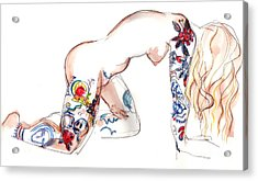 Acrylic Print featuring the mixed media Forever Amber - Tattoed Nude by Carolyn Weltman