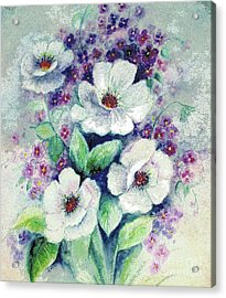 Acrylic Print featuring the painting Forget-me-knots And Roses by Hazel Holland